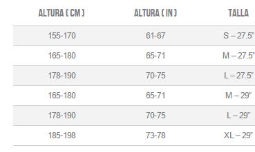 ALTURAS Y TALLAS ORBEA ALMA H30