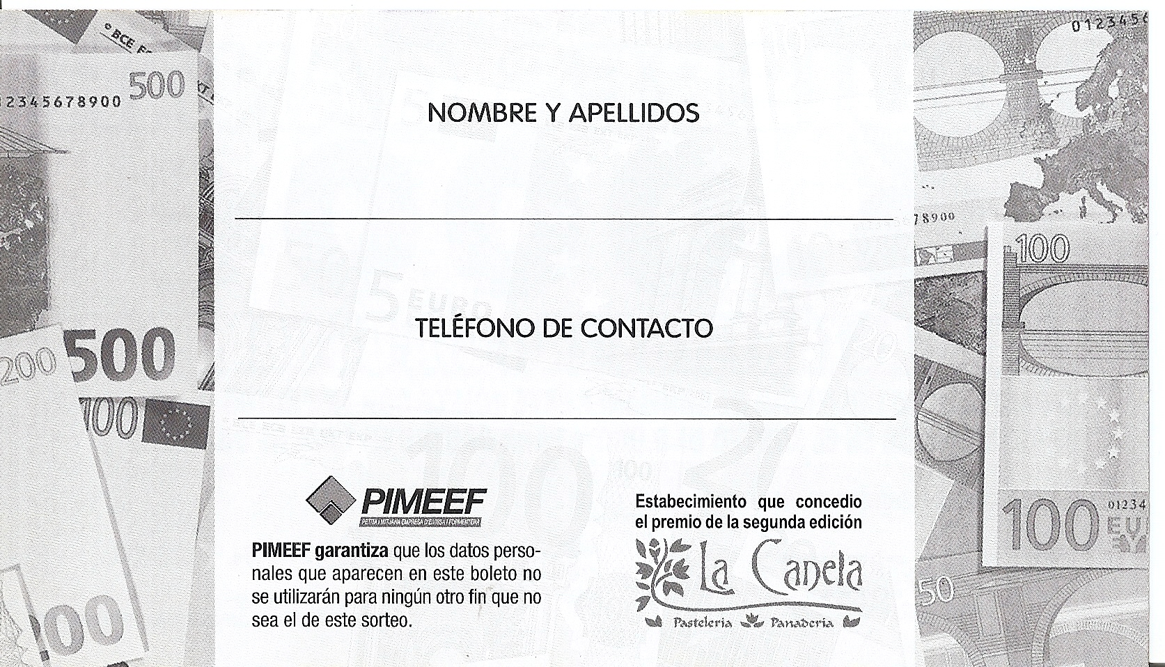 REVERSO DEL CUPÓN A RELLENAR POR EL CLIENTE