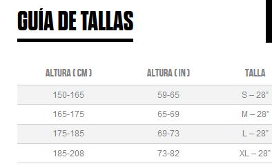 GUIA DE TALLAS COMFORT 10 2016