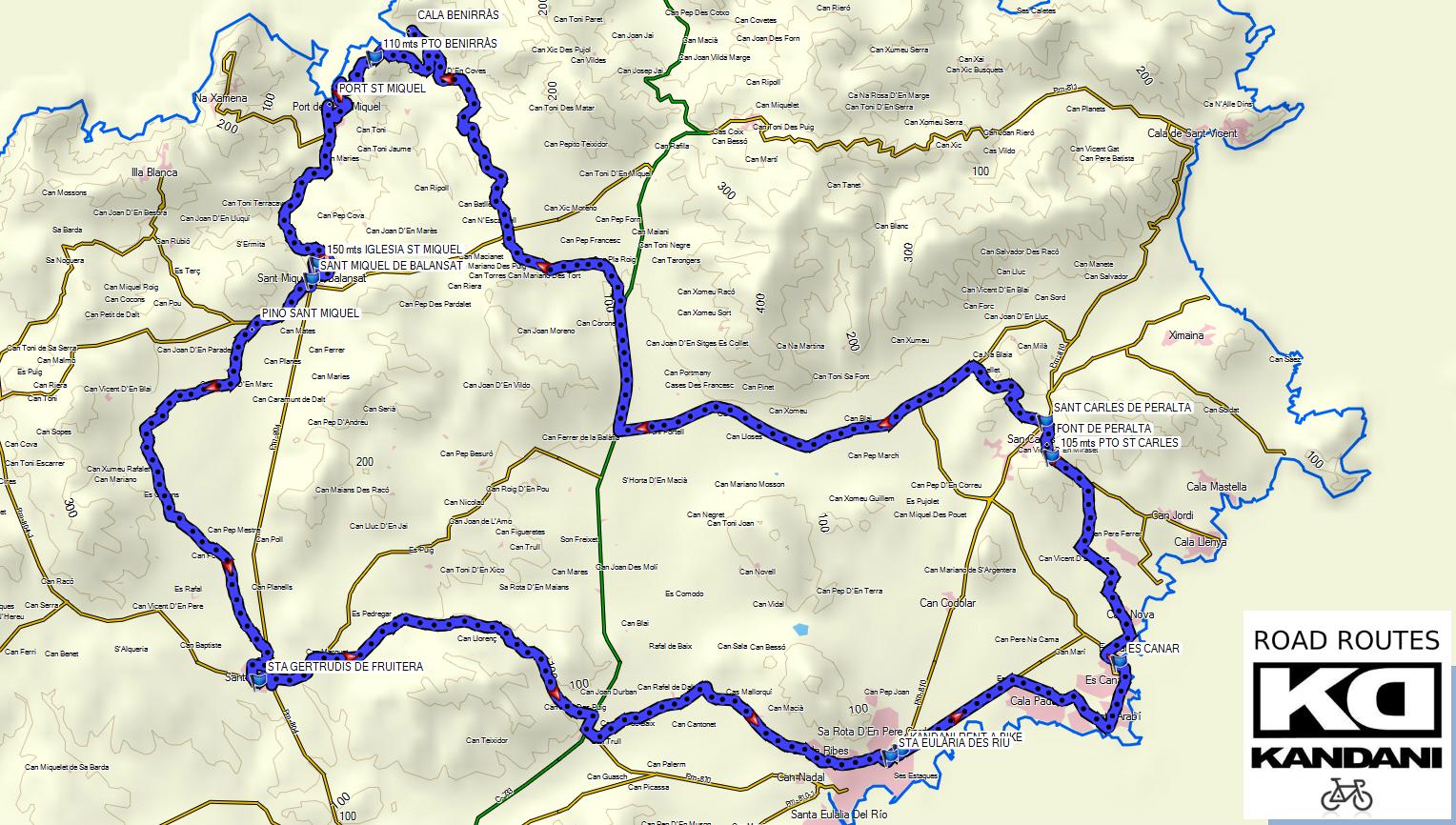 57 KMS DE RUTA VISITANDO ES CANAR-ST CARLES-PORT ST MIQUEL-ST MIQUEL-STA GERTRUDIS-STA EULÀRIA