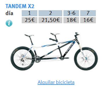 PRECIOS ALQUILER TANDEM