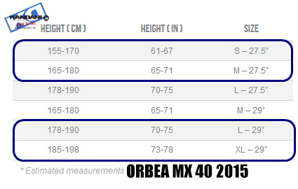 SIZE GUIDE ORBEA MX 40 2015