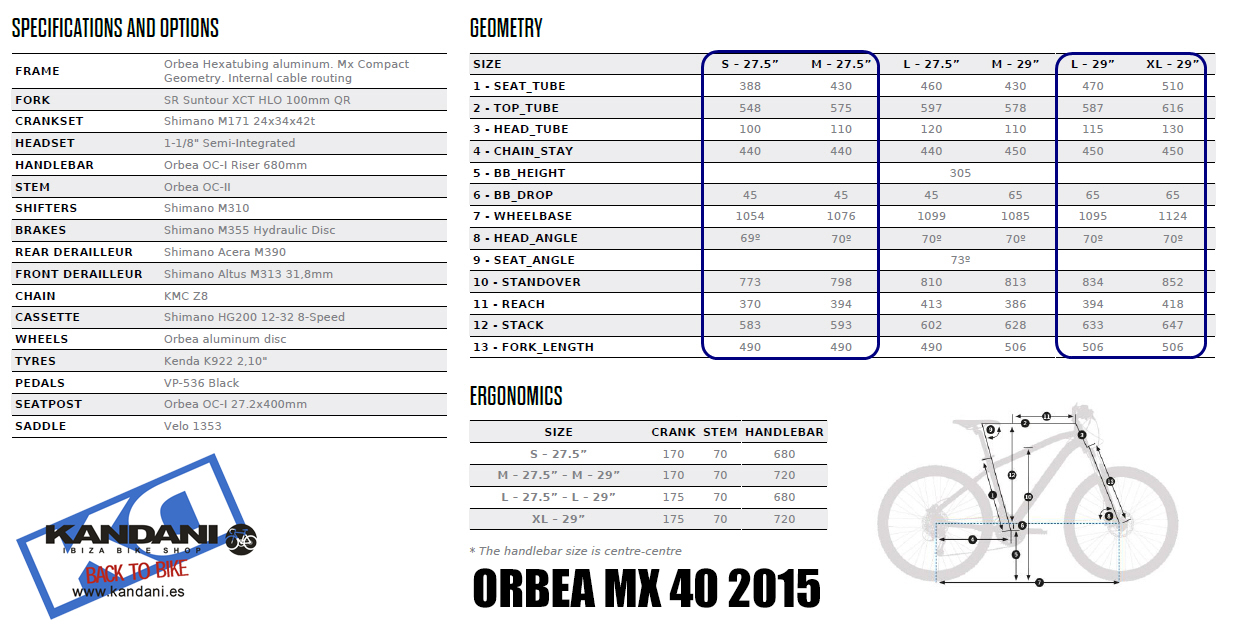 SPECIFICATIONS ORBEA MX 40 2015